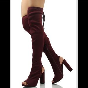 Shoes - Vino red peep toe back tie over the knee heel boot